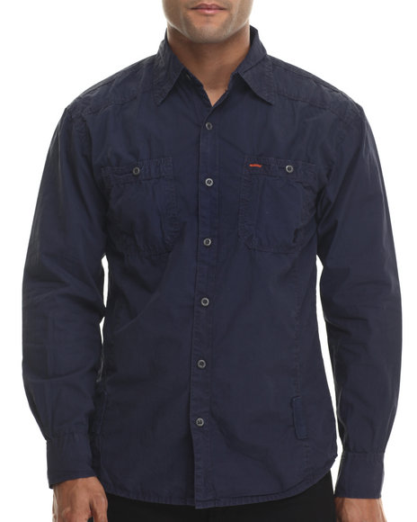 Buyers Picks - Men Navy Louie Iv Washed L/S Button Down Shirt
