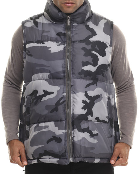 Buyers Picks - Men Camo,Grey Padded Camo Bubble Vest (M-6X) - $15.99