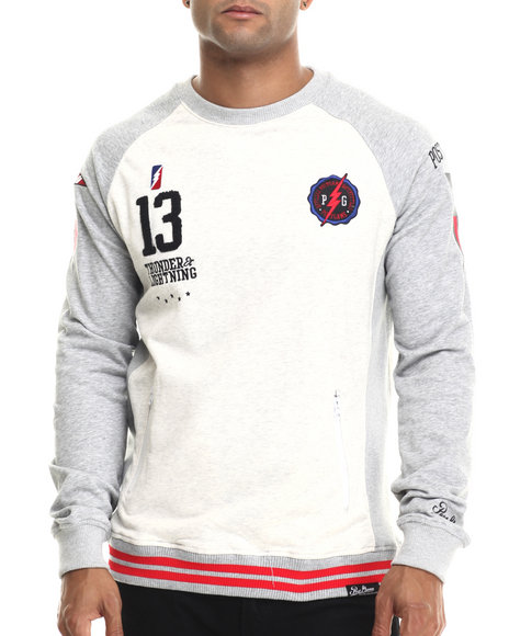 Post Game - Men Cream,Grey P G Flags Crewneck Sweatshirt