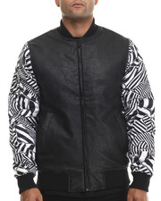 Outerwear - Faux leather bomber jacket w/ Geometric Print Sleeve