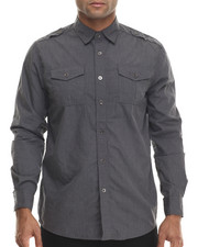 Buyers Picks - Heathered effect button down shirt w/ double chest pockets