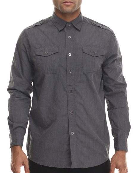 Buyers Picks - Men Charcoal Heathered Effect Button Down Shirt W/ Double Chest Pockets