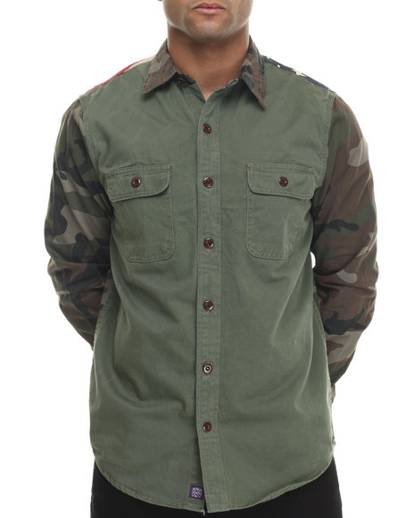 Double Needle - Men Camo,Olive Flagged Camo - Sleeved L/S Button-Down