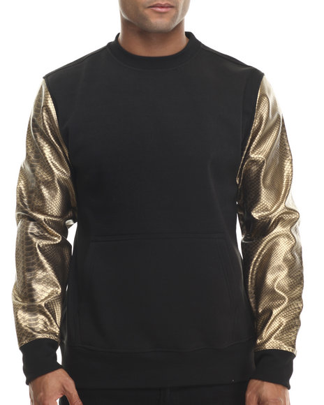 Buyers Picks - Men Black,Gold Fleece Sweatshirt W/ Faux Leather Kangaroo Pockets