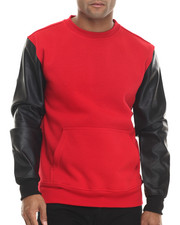Sweatshirts & Sweaters - Fleece sweatshirt w/ faux leather Kangaroo Pockets