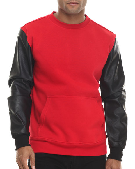 Buyers Picks - Men Red Fleece Sweatshirt W/ Faux Leather Kangaroo Pockets
