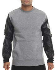 Buyers Picks - Fleece sweatshirt w/ faux leather Kangaroo Pockets