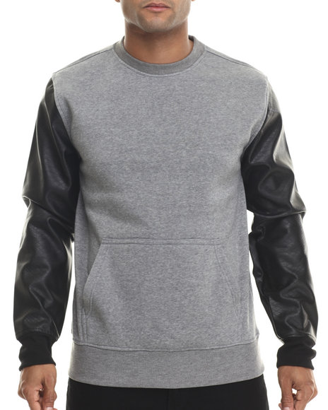 Buyers Picks - Men Grey Fleece Sweatshirt W/ Faux Leather Kangaroo Pockets