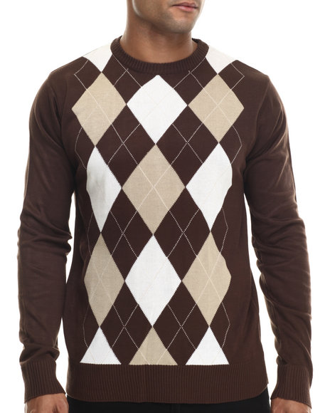Buyers Picks - Men Brown Classic Argyle Sweater - $40.00
