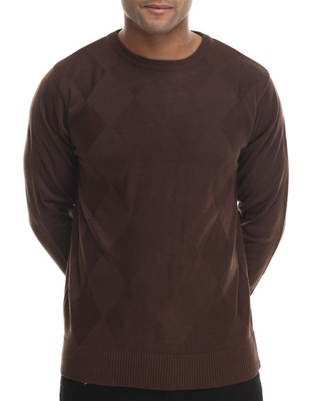 Ur-ID 199507 Buyers Picks - Men Brown Regal Tonal Argyle Sweater