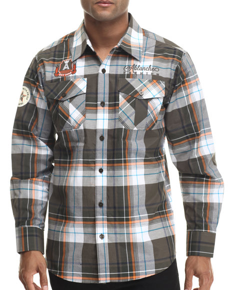 Buyers Picks - Men Olive St. Germain Patch L/S Button Down Shirt