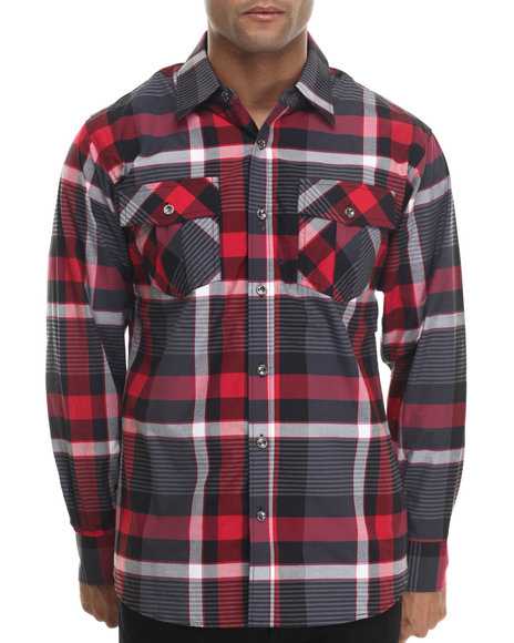 Buyers Picks - Men Black,Red Jay Dee L/S Button Down Shirt