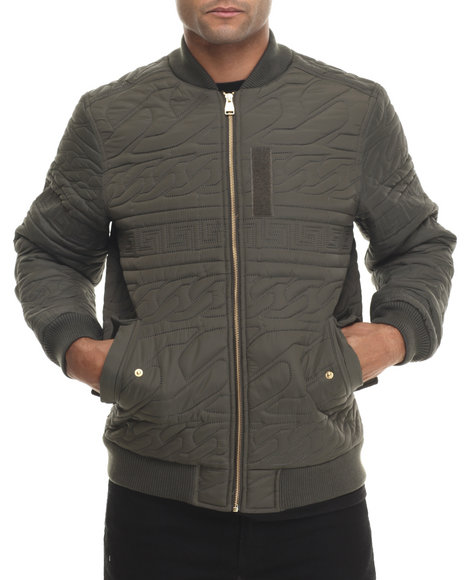 Crooks & Castles - Men Olive Coup D'etat Woven Bomber Jacket - $130.00