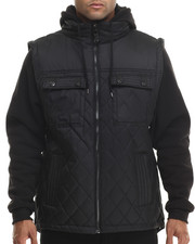 Outerwear - Diamond Quilted Vest Jacket w/ detachable fleece sleeves & hood