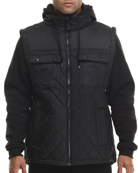 Buyers Picks - Men Black Diamond Quilted Vest Jacket W/ Detachable Fleece Sleeves & Hood