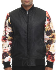 Outerwear - Faux leather bomber jacket w/ floral Print Sleeve