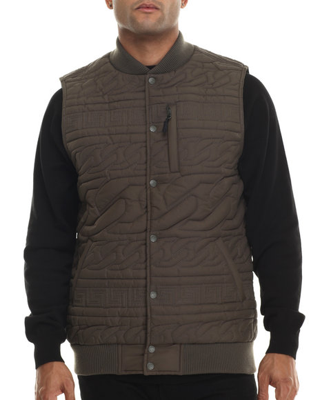 Crooks & Castles - Men Green Chain Lux Woven Vest