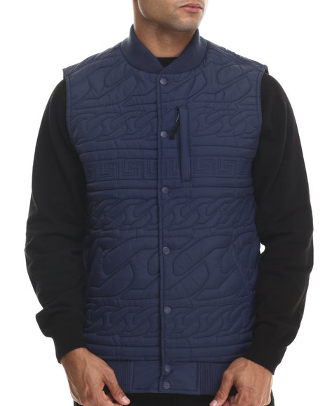 Crooks & Castles - Men Navy Chain Lux Woven Vest - $93.99