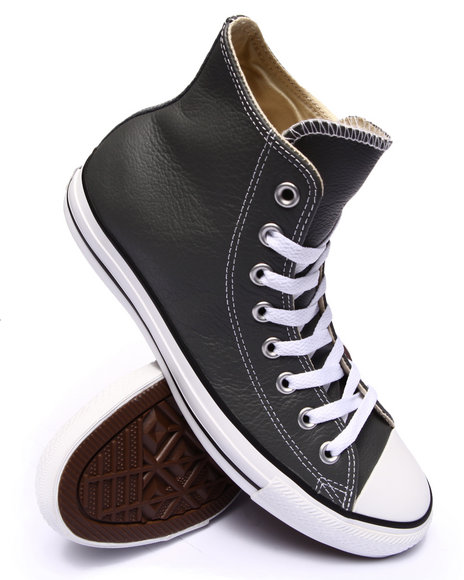 Converse - Men Charcoal Chuck Taylor All Star Leather Sneakers