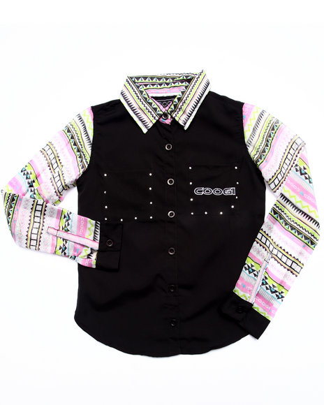 Coogi - Girls Black Aztec Sleeve Woven (7-16) - $34.99