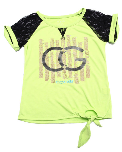 Coogi - Girls Lime Green Side Tie Logo Tee (7-16)