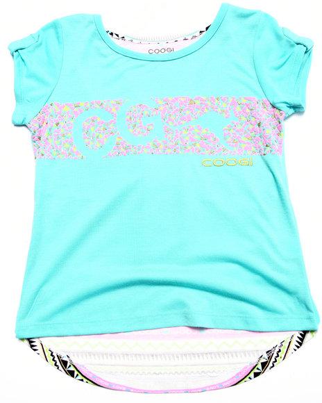 Coogi - Girls Blue Aztec Coogi Logo Tee (7-16) - $20.99