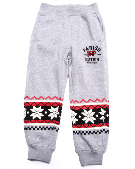 Parish - Boys Grey Snowflake Fleece Jogger (4-7)