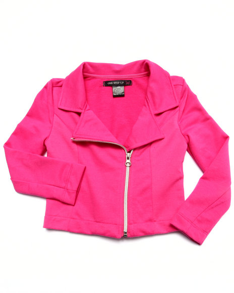 La Galleria - Girls Pink French Terry Moto Jacket (4-6X)