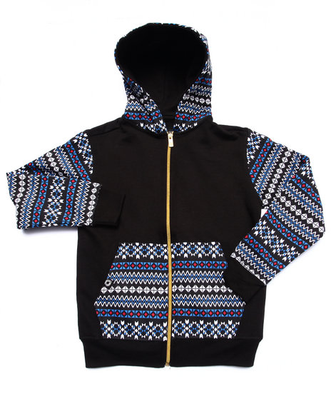 Akademiks - Boys Black Aztec Full Zip Hoody (4-7) - $16.99