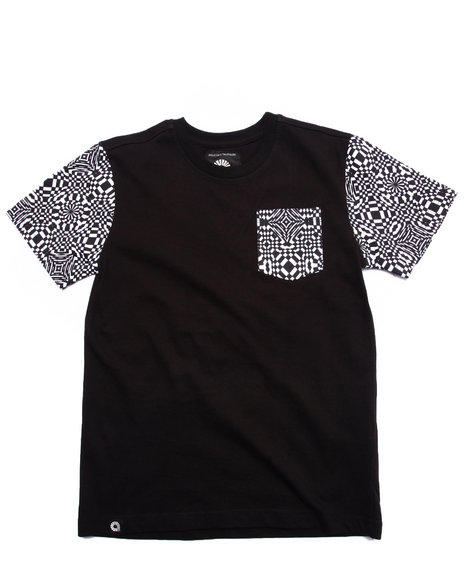 Akademiks - Boys Black Geo Pocket Tee (8-20)