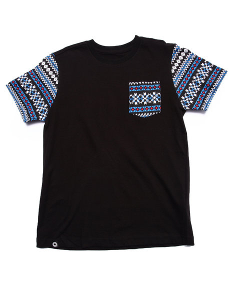 Akademiks - Boys Black Aztec Pocket Tee (8-20)