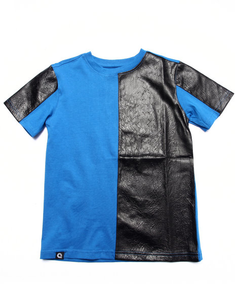 Akademiks - Boys Blue Cut & Sew Embossed Ostrich Tee (8-20)