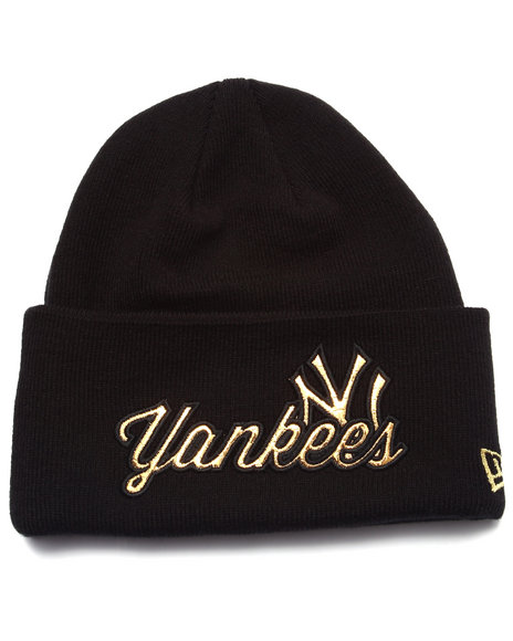 New Era Men New York Yankees Metallic Knight Knit Hat Gold