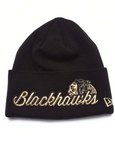 New Era Men Chicago Blackhawks Metallic Knight Knit Hat Gold