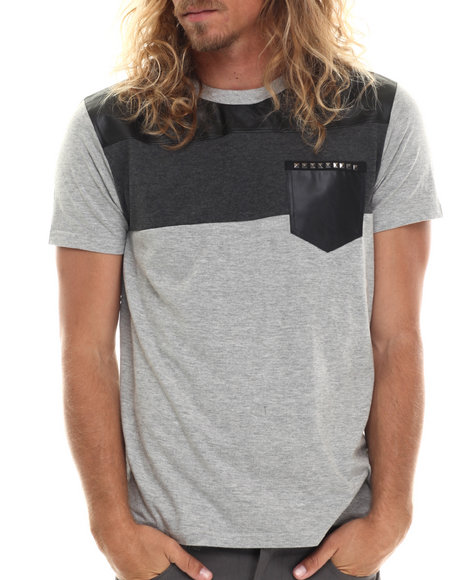 Buyers Picks - Men Grey Faux Leather Pocket S/S Tee