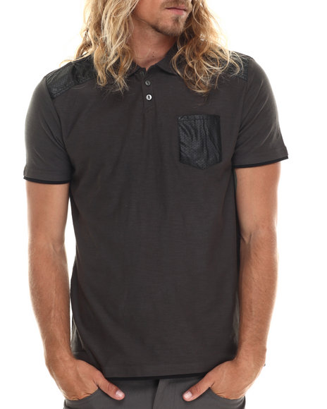 Buyers Picks - Men Grey Magnus Polo Shirt W/ Faux Leather Trim Detail