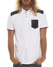 Men - Magnus Polo shirt w/ faux leather trim detail