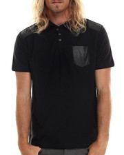 Men - Magnus Polo shirt w/ faus leather trim detail