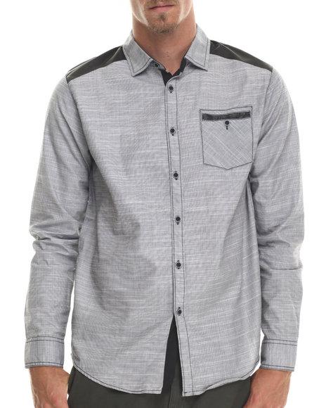 Buyers Picks - Men Black,Grey Katch Faux Leather Trim L/S Button Down Shirt - $19.99