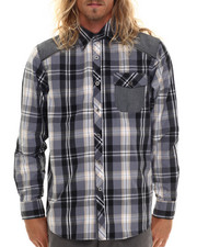 Men - Classic Plaid w/ Chambray detail button down shirt