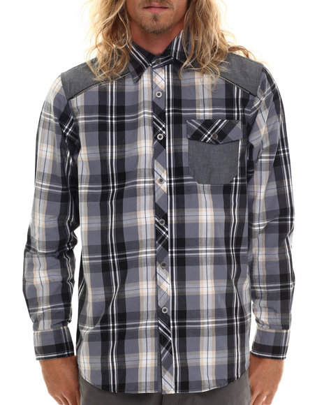 Buyers Picks - Men Black Classic Plaid W/ Chambray Detail Button Down Shirt - $36.99