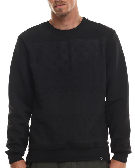 Ur-ID 199587 Hudson NYC - Men Black Embossed Stud Crewneck Sweatshirt
