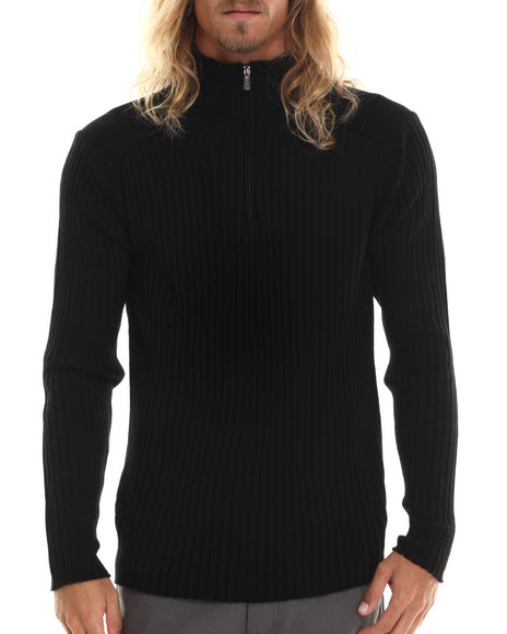 Buyers Picks - Men Black Evermore Rib Mock Neck Sweater
