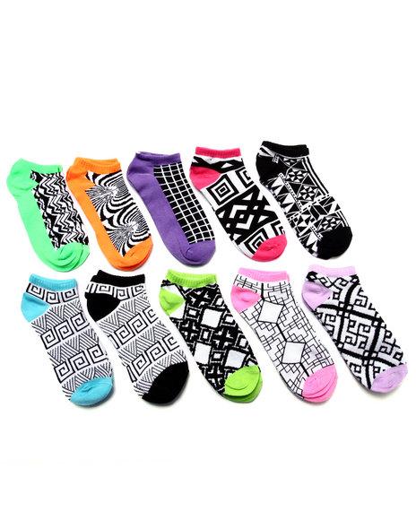 Drj Sock Shop Women Geo Metrics 10 Pk No Show Socks Black 9-11