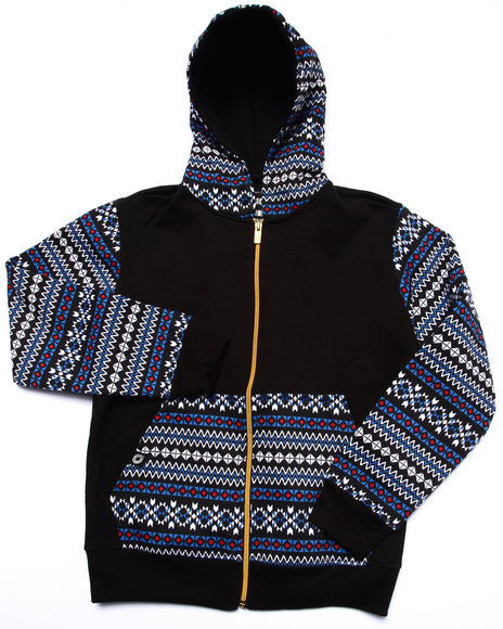 Akademiks - Boys Black Aztec Full Zip Hoody (8-20) - $29.99