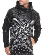 Hoodies - Bandana - Print Cut - Block Faux - Leather Trimmed Hoodie