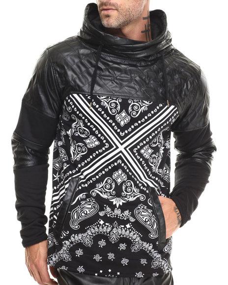 Buyers Picks - Men Black Bandana - Print Cut - Block Faux - Leather Trimmed Hoodie