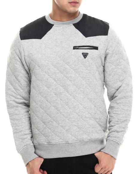 Parish - Men Grey Quilted Sweatshirt