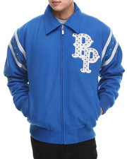 Men - Detroit Blue Wool Pelle Pelle Jacket