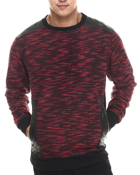 Buyers Picks - Men Red Marled Faux - Leather Trimmed Crewneck Sweatshirt